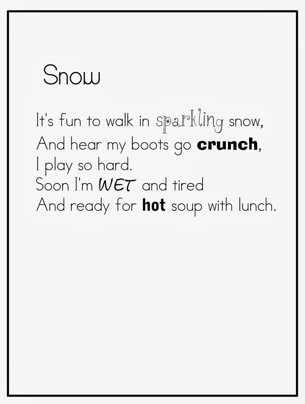 Joyful Learning In Kc {Short Winter Poems} | School- Winter  Short Poem O Calender Images