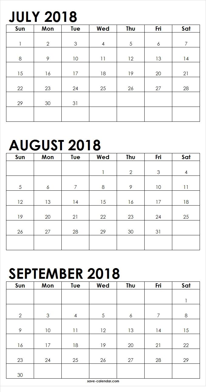 July August September 2018 Calendar Printable | 2018 Calendar  August And Septembercalendar Free Printables