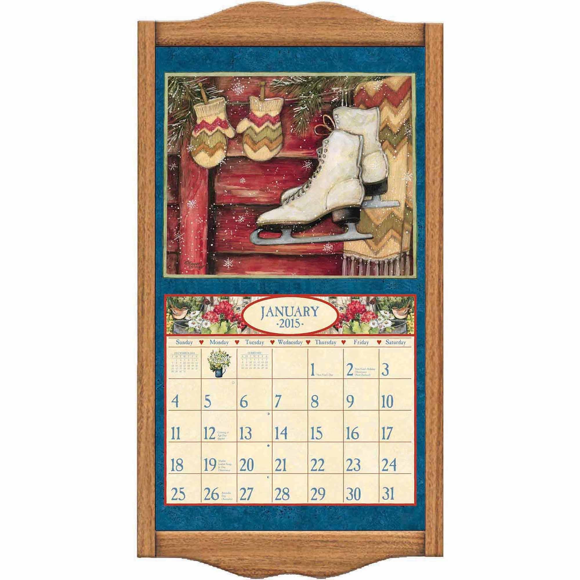 """Lang """"oak"""" Calendar Frame - Walmart  12 X 12 Wall Calendar Holder"""