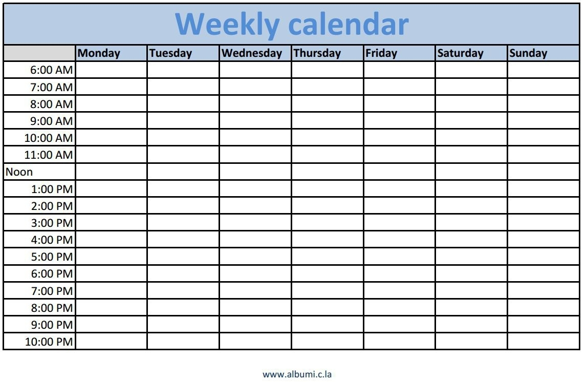 Large Weekly Calendar With Times Slots Printable | Calendar  Monthly Calendar With Time Slots