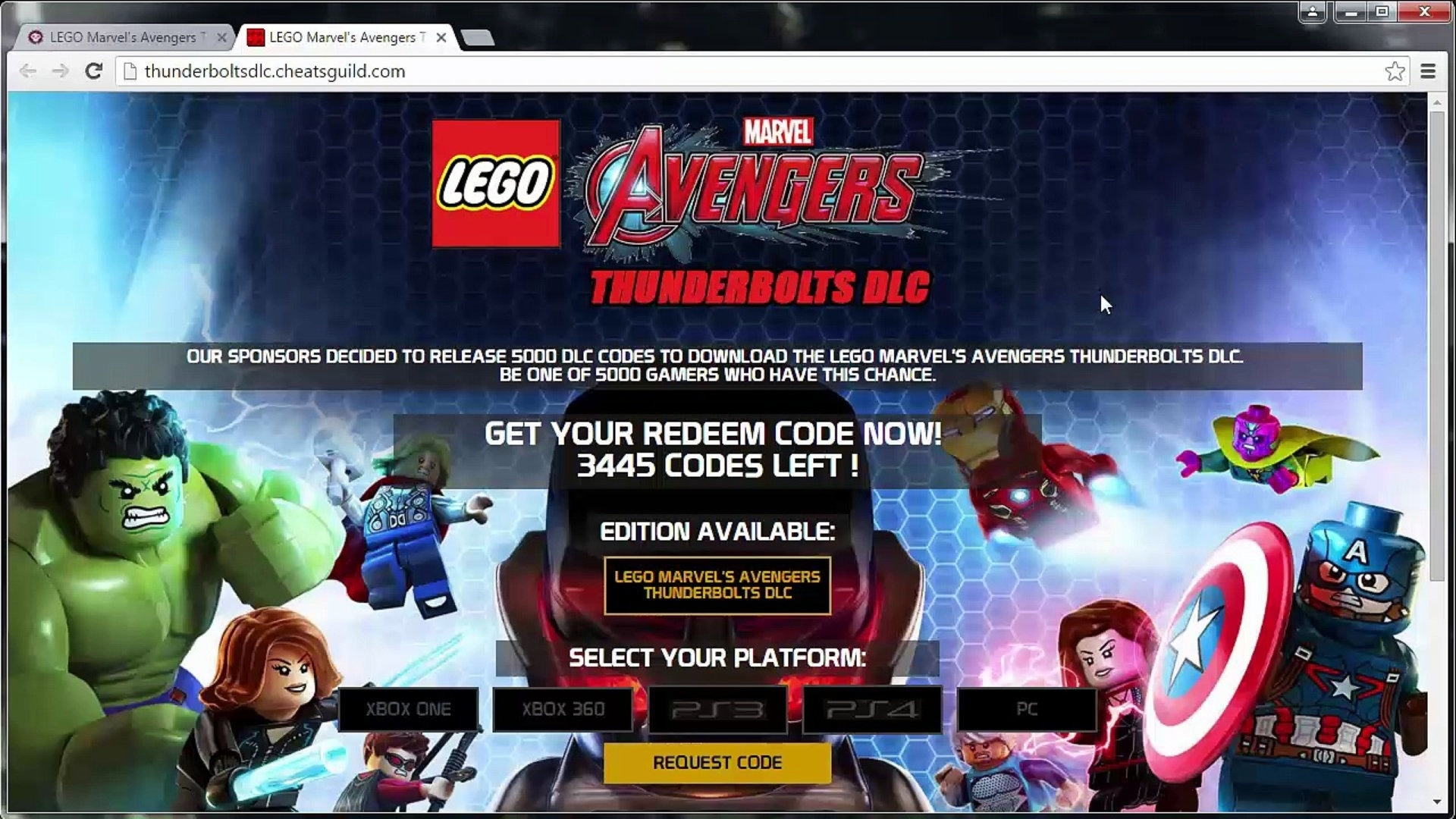 Lego Marvel's Avengers Thunderbolts Dlc Code Generator - Video  Codes For Lego Marvel Avengers