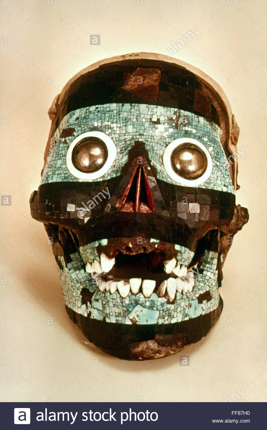 Mexico: Aztec Mask. /nmosaic Mask Of Tezcatlipoca. Aztec Period  Aztec Masks And Ther Meanings