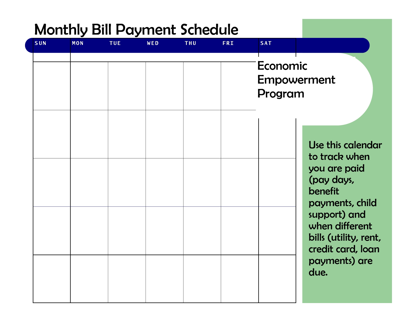 Monthly Based Bill Payment Schedule Template : Vatansun  Blank Monthly Bill Payment Sheet