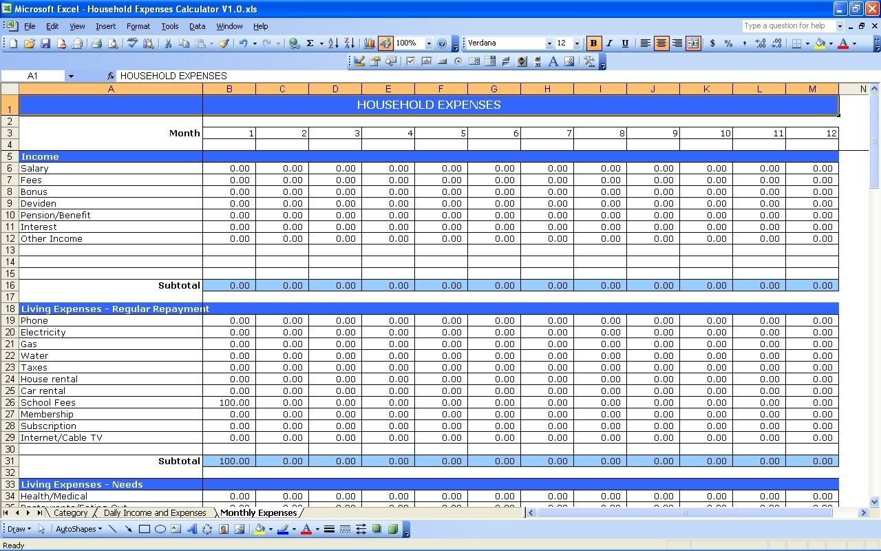 Monthly Bills Excel Template - Gecce.tackletarts.co  Monthly Bills Template With Account Number And Address
