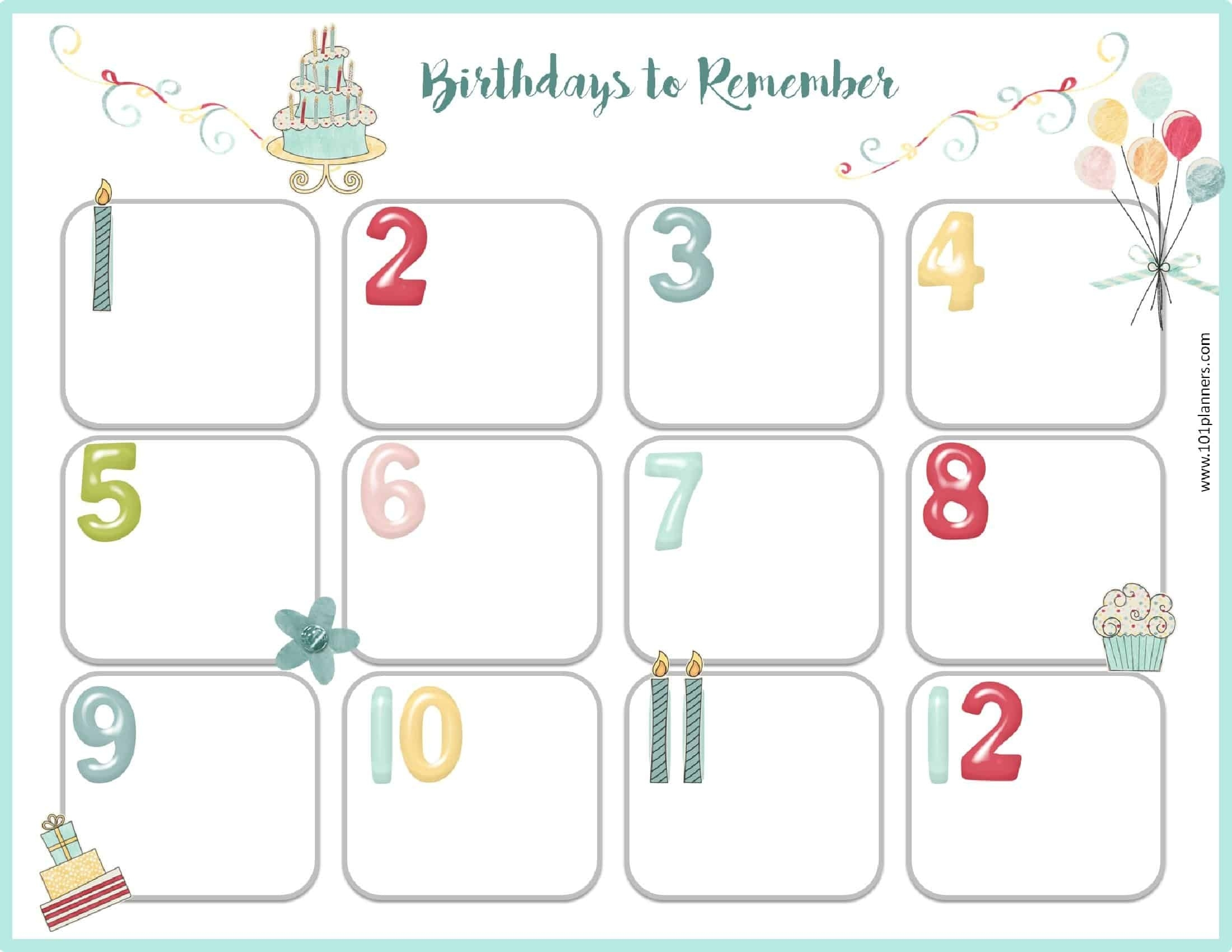 Monthly Birthday Calendar Template - Gecce.tackletarts.co  Format For A Birthday/ Anniversary Calendar