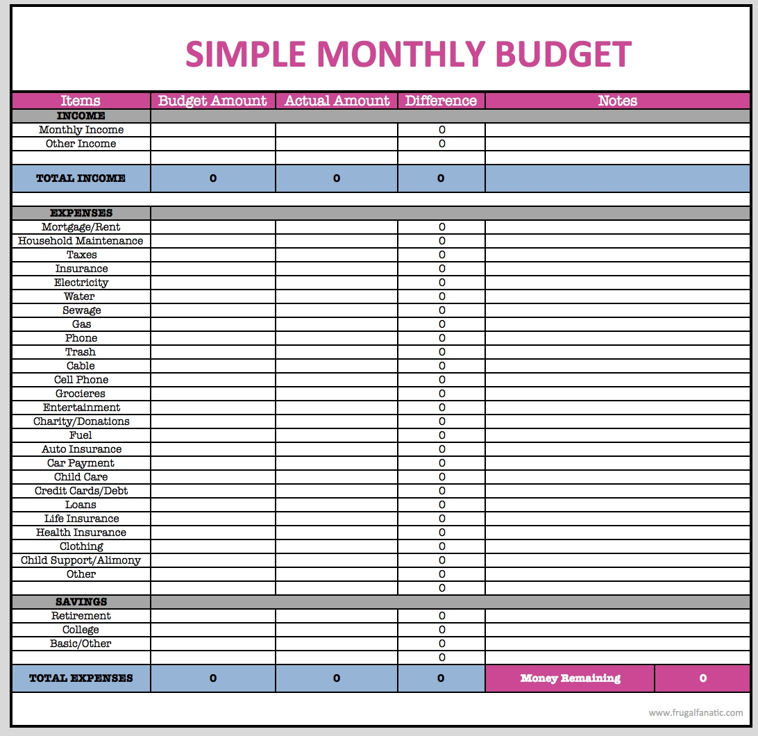 Monthly Budget Spreadsheet | Pinterest | Monthly Budget Spreadsheet  Blank Monthly Budget Excel Spreadsheet