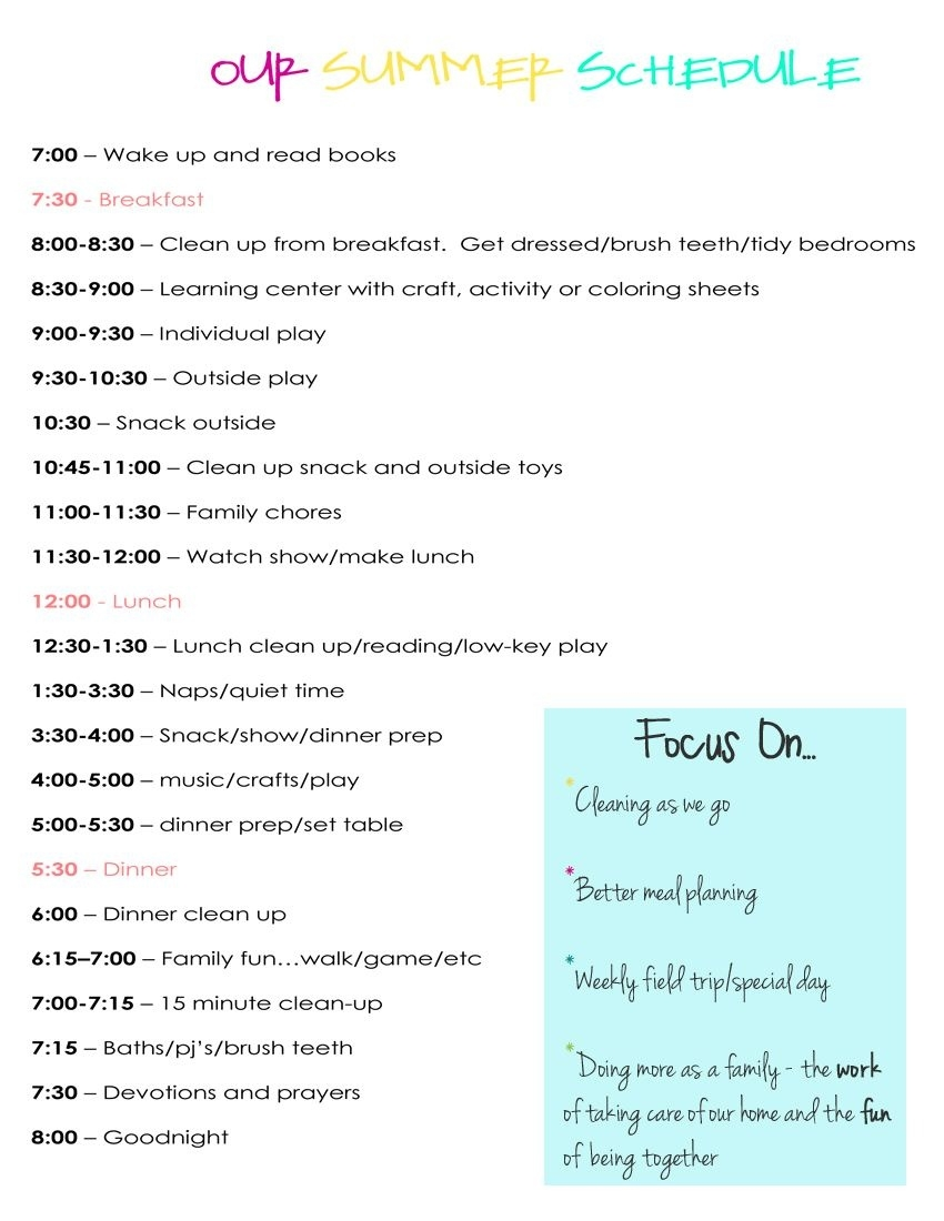 Our Daily Summer Schedule | My Girls | Pinterest | Summer Schedule  Daily Summer Activities For Preschoolers