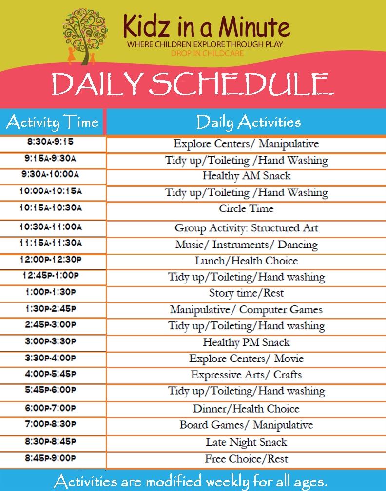 Preschool Printable Pictures Daily Schedule#373135 - Myscres  Daily Summer Activities For Preschoolers