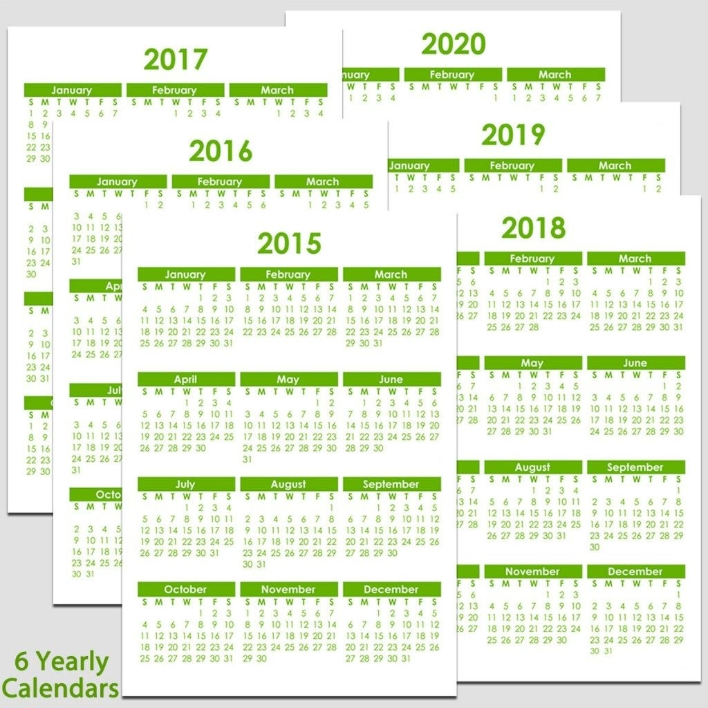 Printable 2015 To 2020 Yearly Calendar – 8 1/2″ X 11″. The Calendars  2023 Calendar Printable One Page E Printable