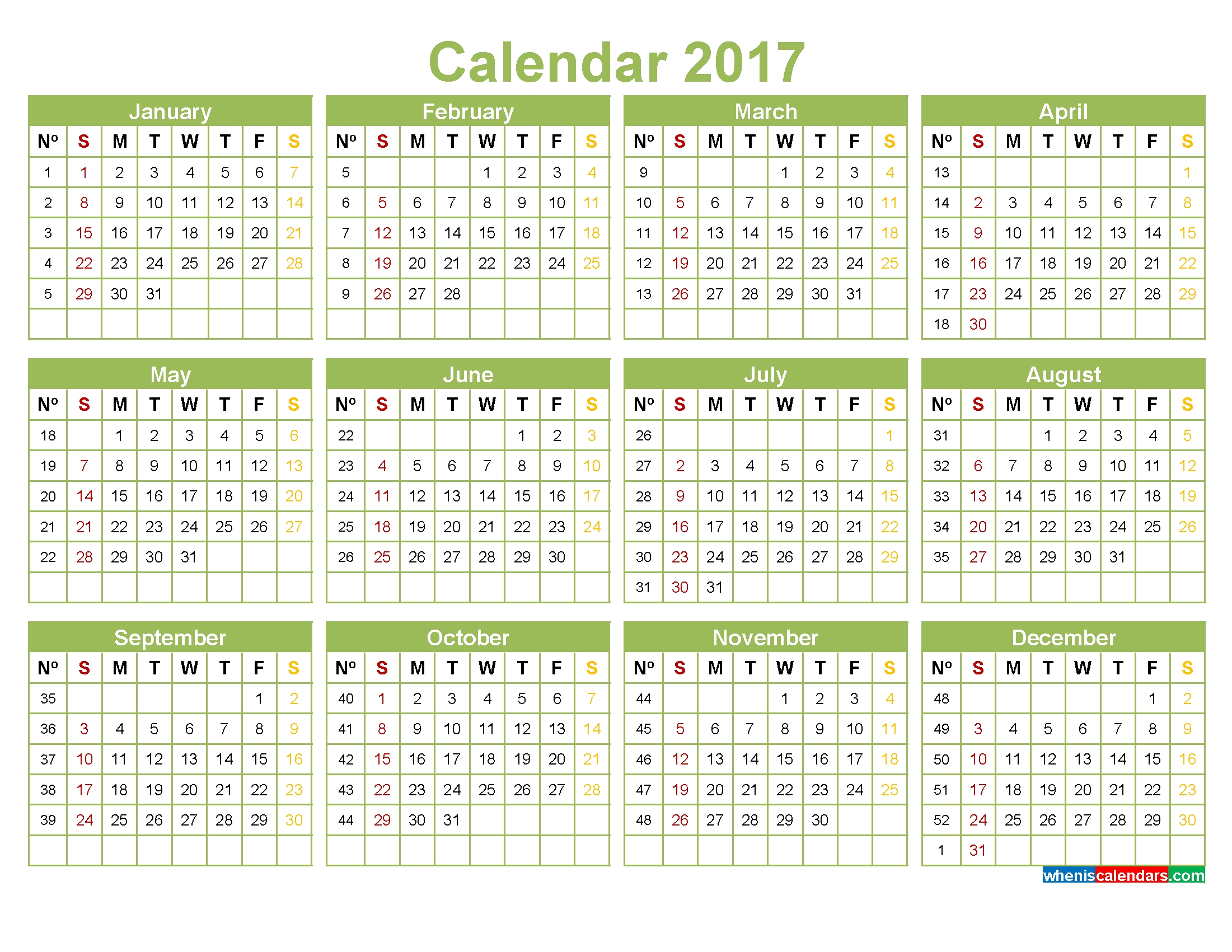 Printable 2017 Calendar With Week Numbers Pdf, Image, Word  Calendar By Week With Printable