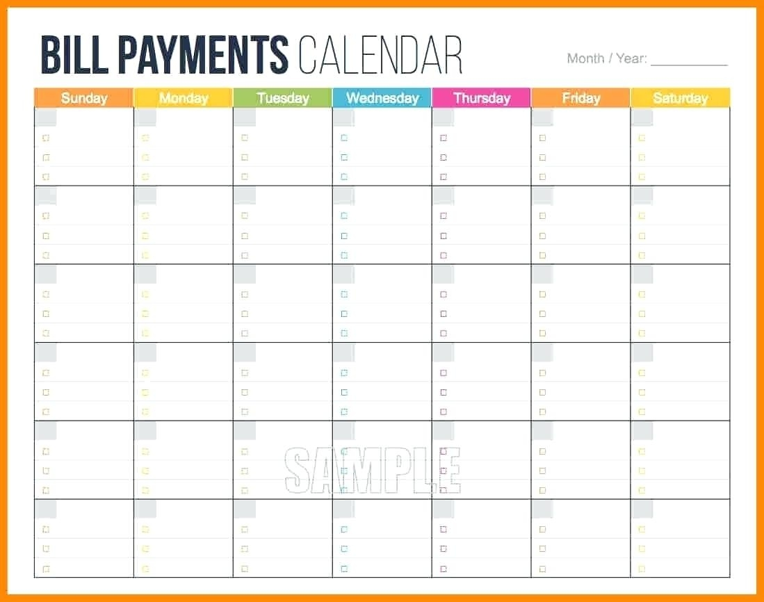 Printable: Bill Payment Schedule Template Printable  Monthly Bill Calendar Template Printable
