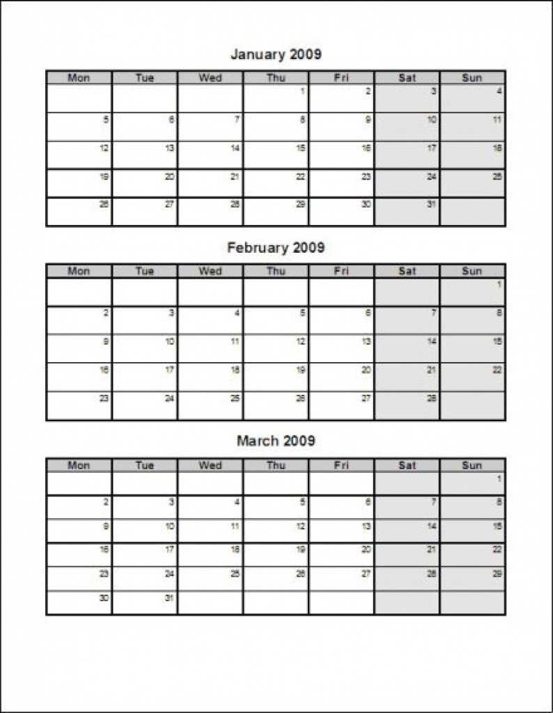 Printable Calendar 3 Months Per Page Incredible Template | Mightymic  Calendar Template 3 Months Per Page