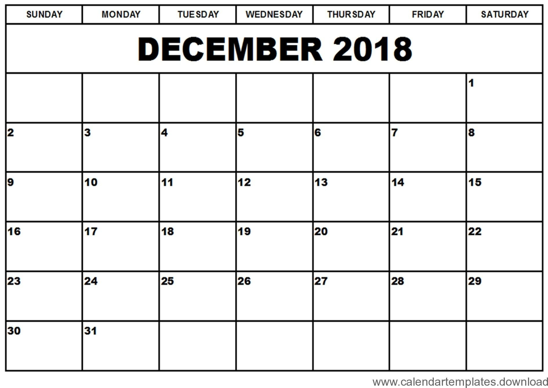 Printable Calendar December 2018 Template Download Free Exceptional  Calander From August - December