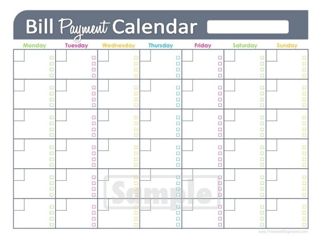 Printable Monthly Bill Calendar | Printable Calendar Templates 2018  Monthly Bill Calendar Template Printable