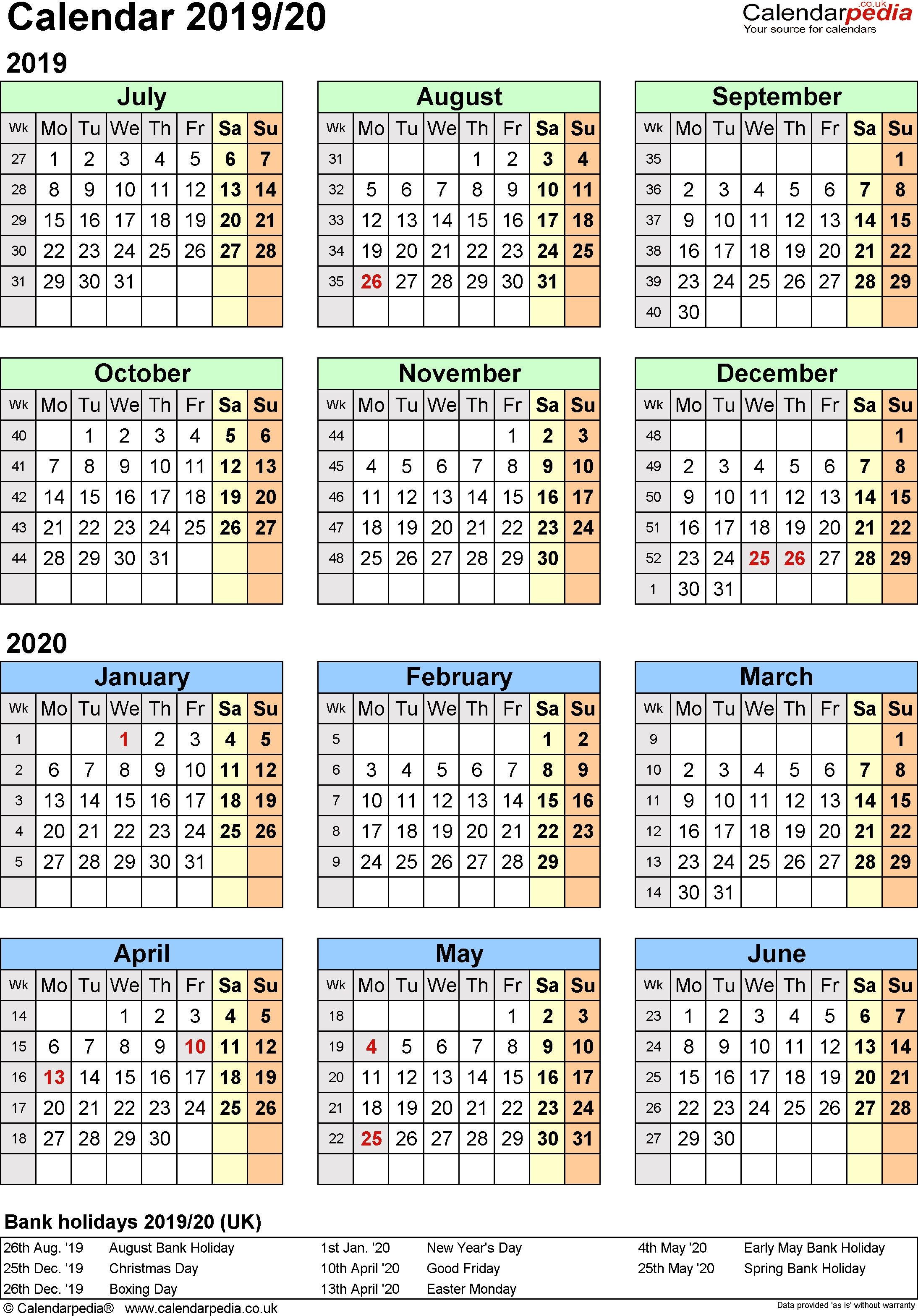 Split Year Calendars 2019/20 (July To June) For Pdf (Uk Version)  Calendar With All The Years