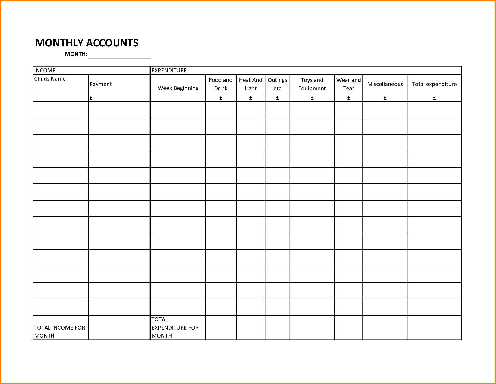 Spreadsheet For Bills Examples Monthly Bill Template With Regard To  Monthly Bill Calendar Template Printable