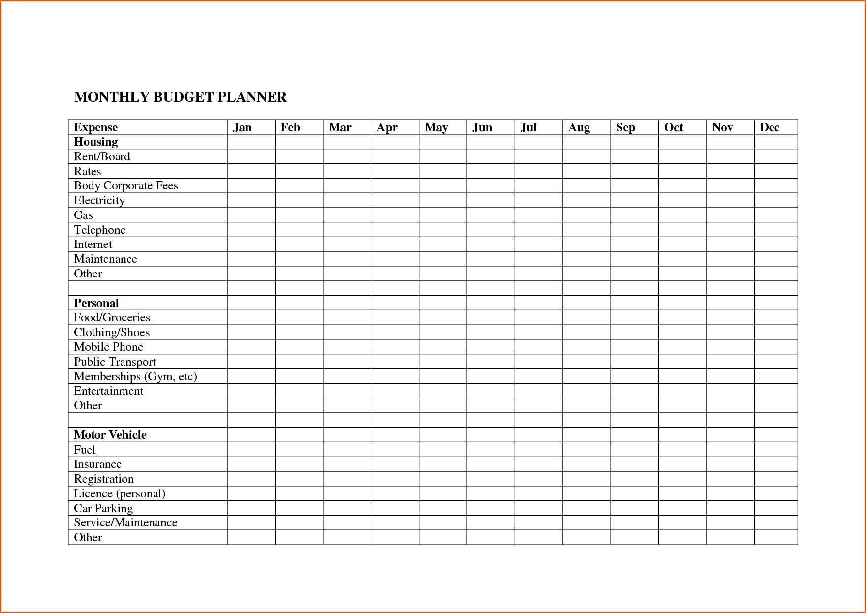 Spreadsheets Bill Spreadsheet Excel Templates Free Excellent  Blank Monthly Bill Payment Sheet