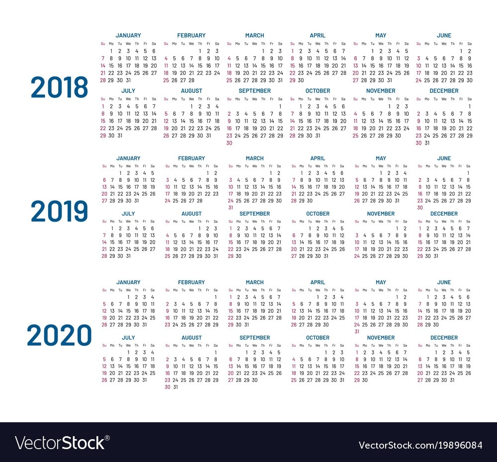 Three Years Calendar 2018 2019 2020 Isolated Vector Image  Calendar With All The Years