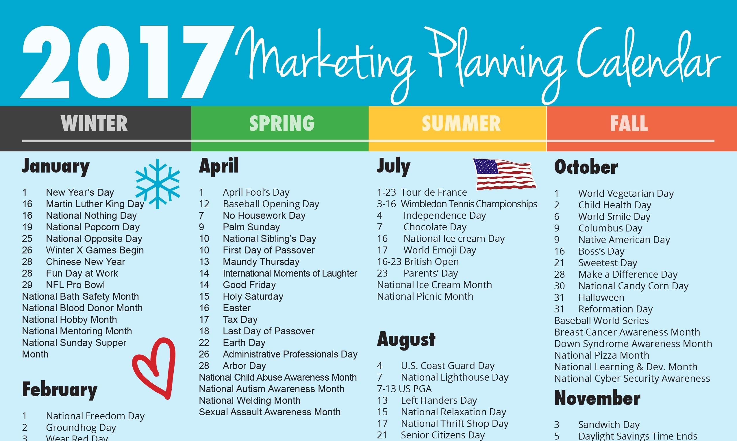 Ultimate 2017 Marketing Planning Calendar - Rebecca Vandenberg Web  Images National Day August 23