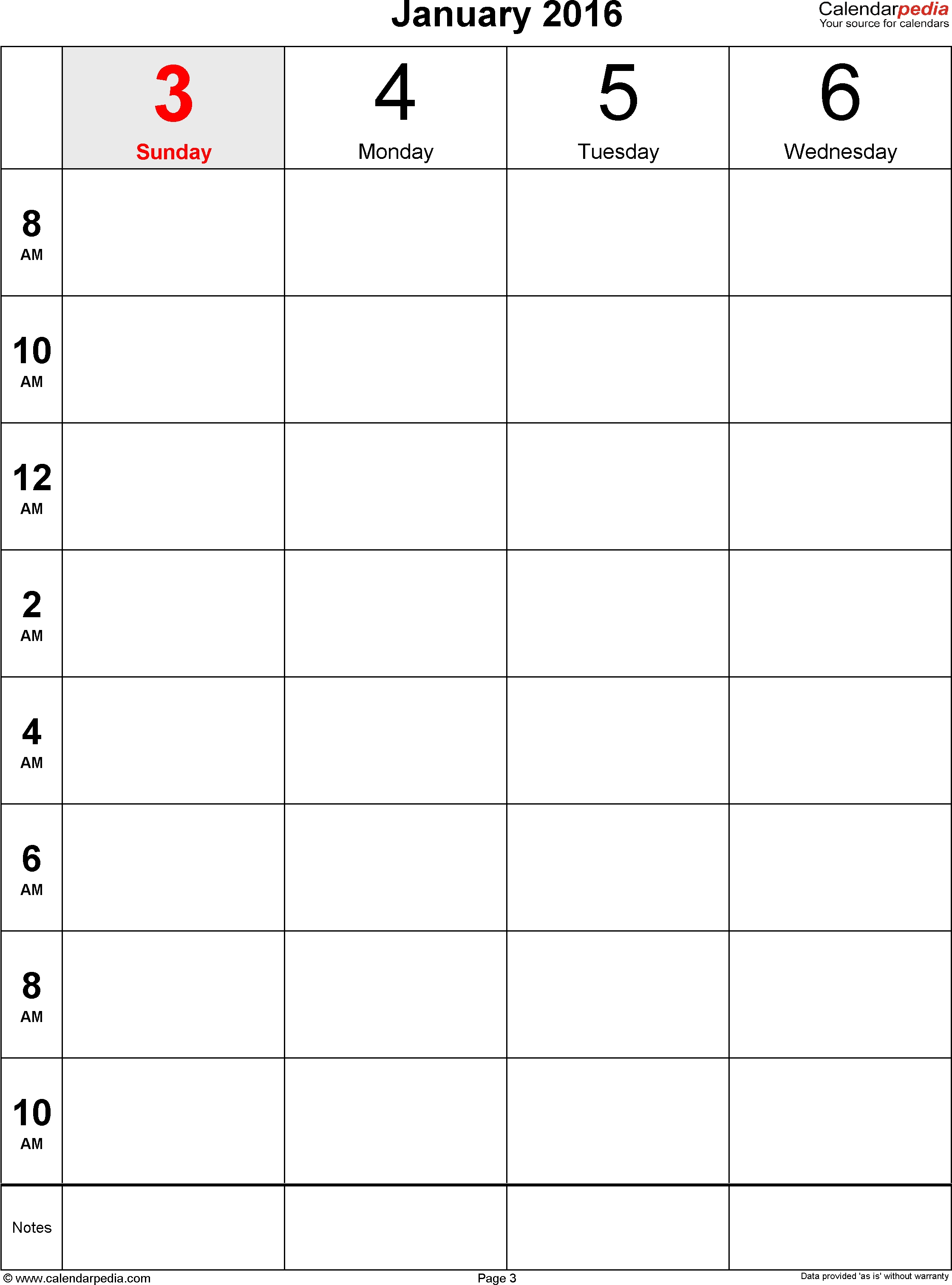 Weekly Calendar 2016 For Excel - 12 Free Printable Templates  Monthly Calendar Printable Template Notes Column