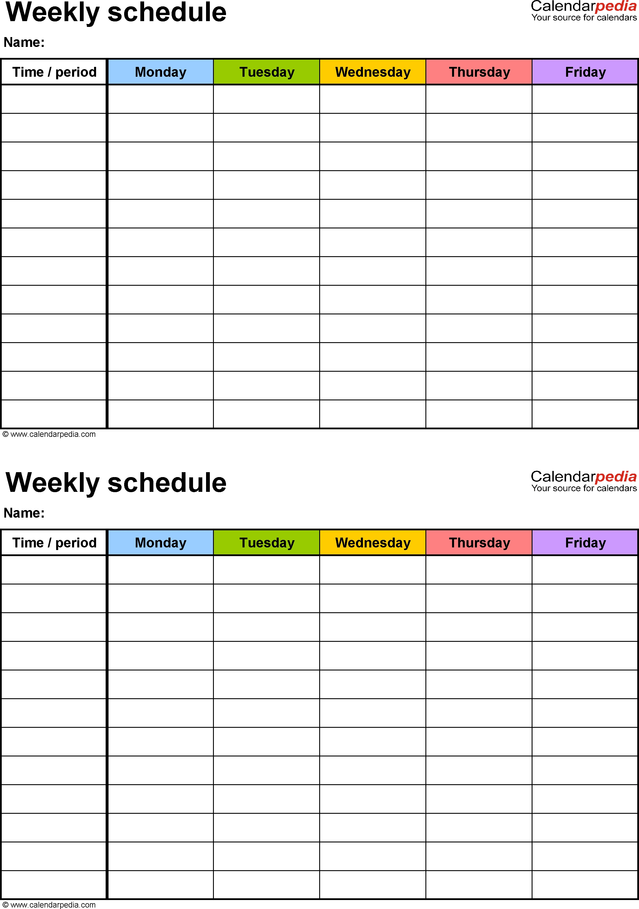 Weekly Schedule Template For Excel Version 3: 2 Schedules On One  7 Day Calendar Template Fillable