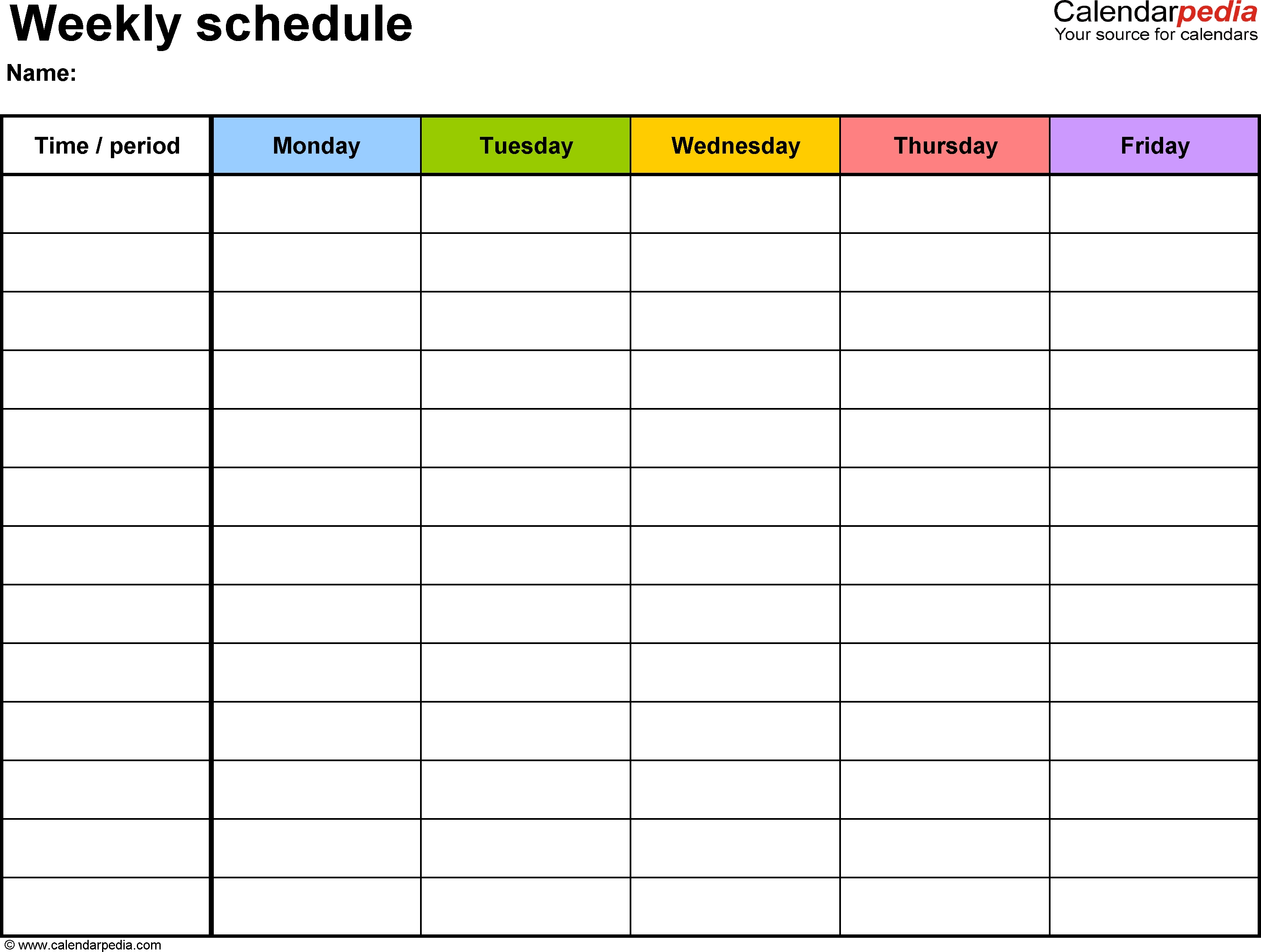 Weekly Schedule Template For Word Version 1: Landscape, 1 Page  5 Day Monthly Calendar Printable