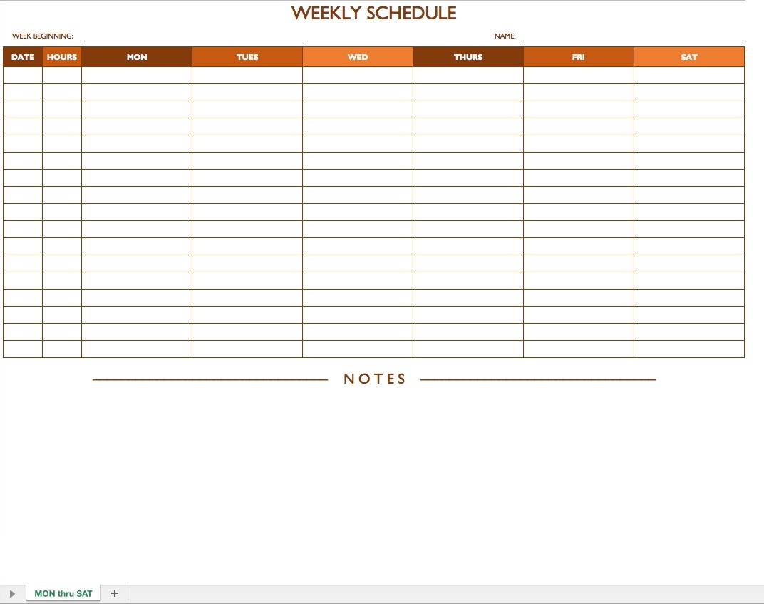 Weekly Schedule Template Free - Gecce.tackletarts.co  Weekly Schedule Monday - Sunday