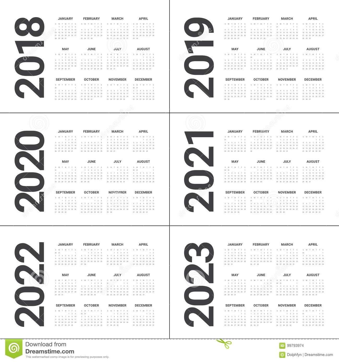Year 2018 2019 2020 2021 2022 2023 Calendar Vector Stock Vector  2023 Calendar Printable One Page E Printable