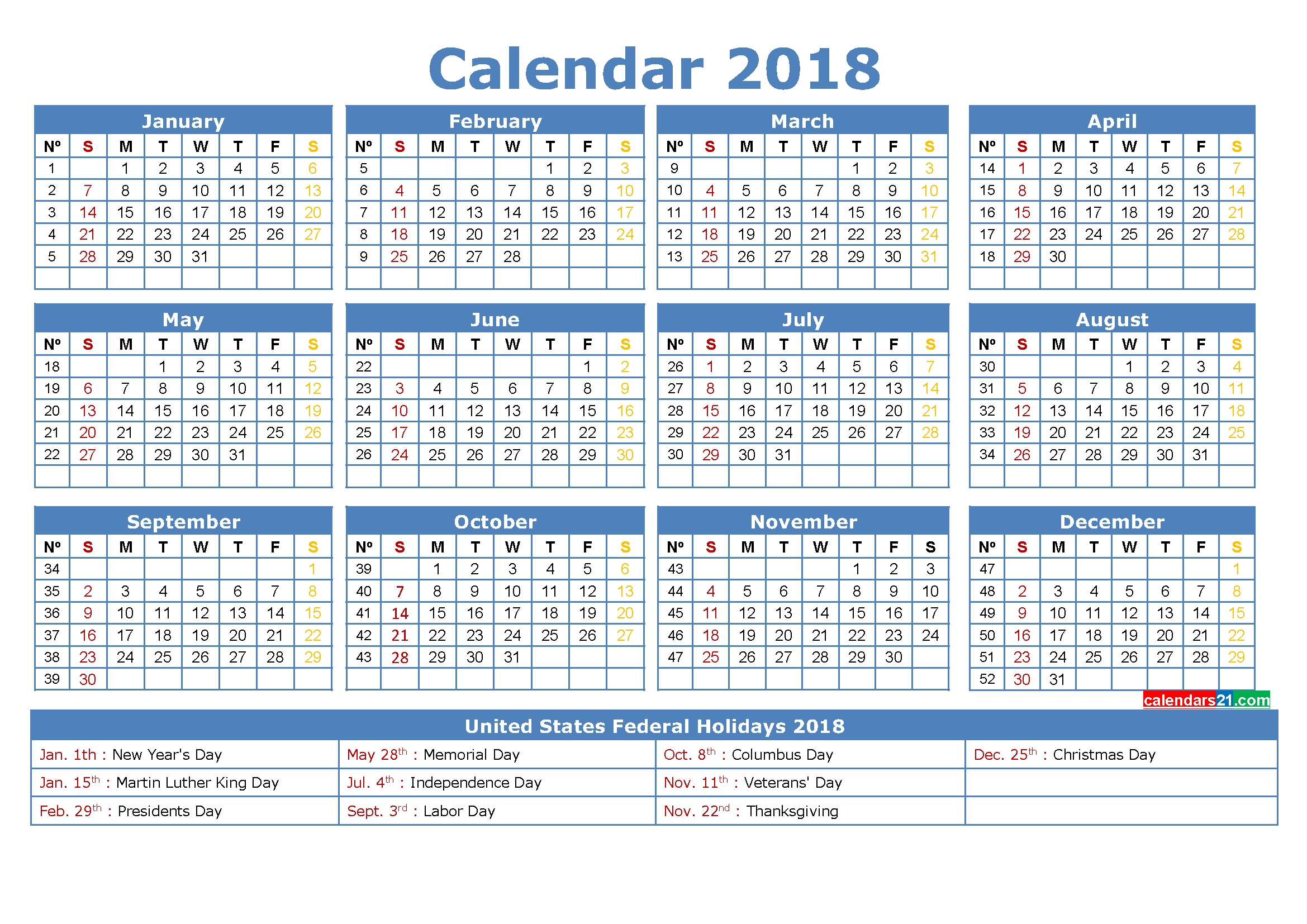 12 Month Calendar 2018 Printable With Holidays In Us. | 2018 2019  1 Week Vacation Calendar Printable