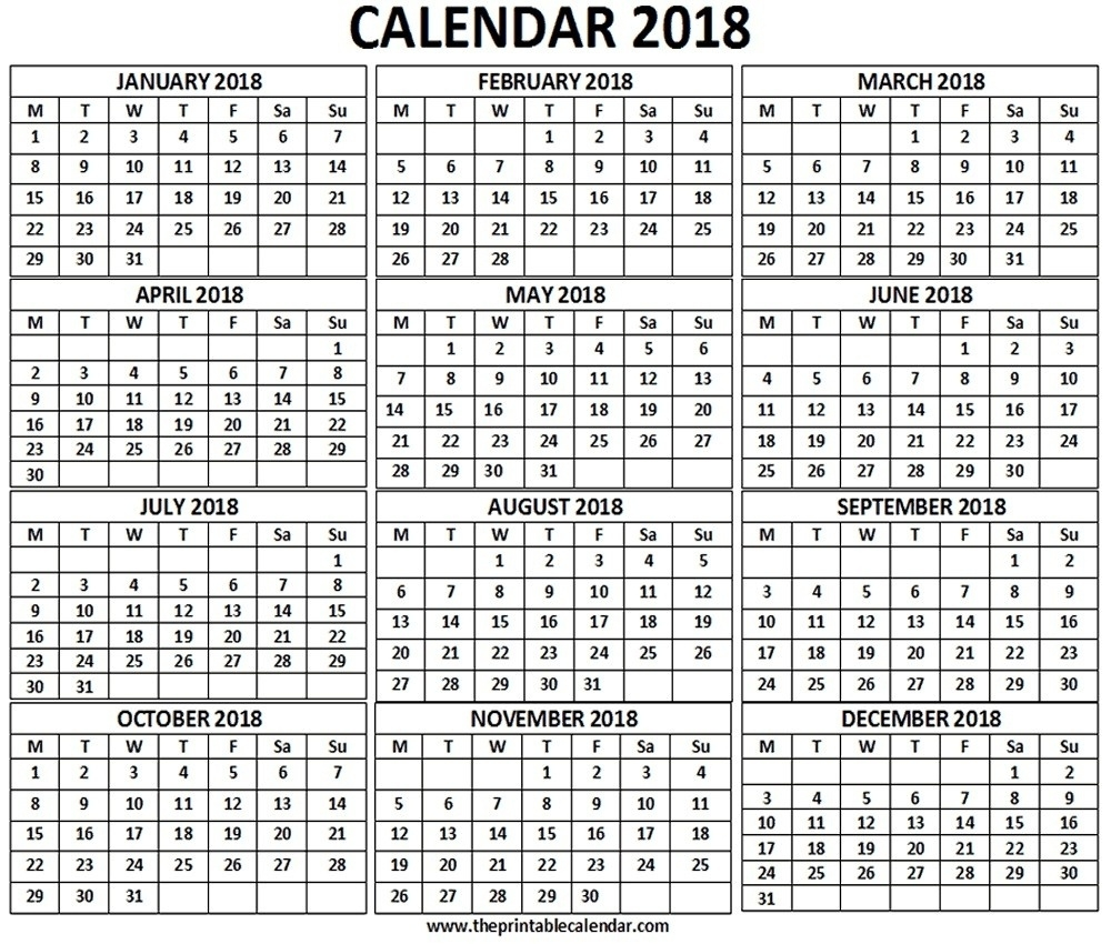 12 Month Calendar One Page 2018 – Template Calendar Design  Monthly Calendar On One Page