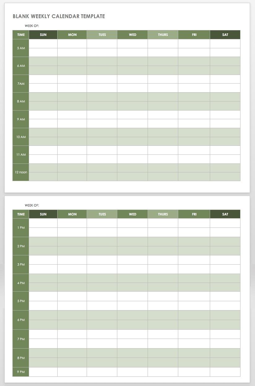 15 Free Weekly Calendar Templates | Smartsheet  Fill In Blank Weekly Calendar Templates
