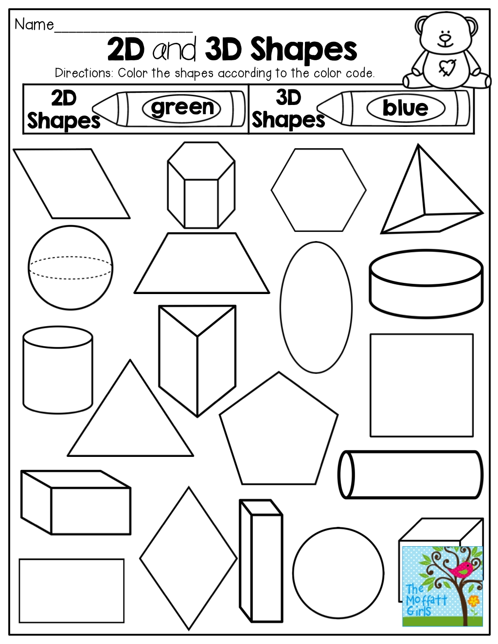 2-D And 3-D Shapes! Colorthe Code! Tons Of Fun Printables  Colouring In Square Sheets For Year Three No Color