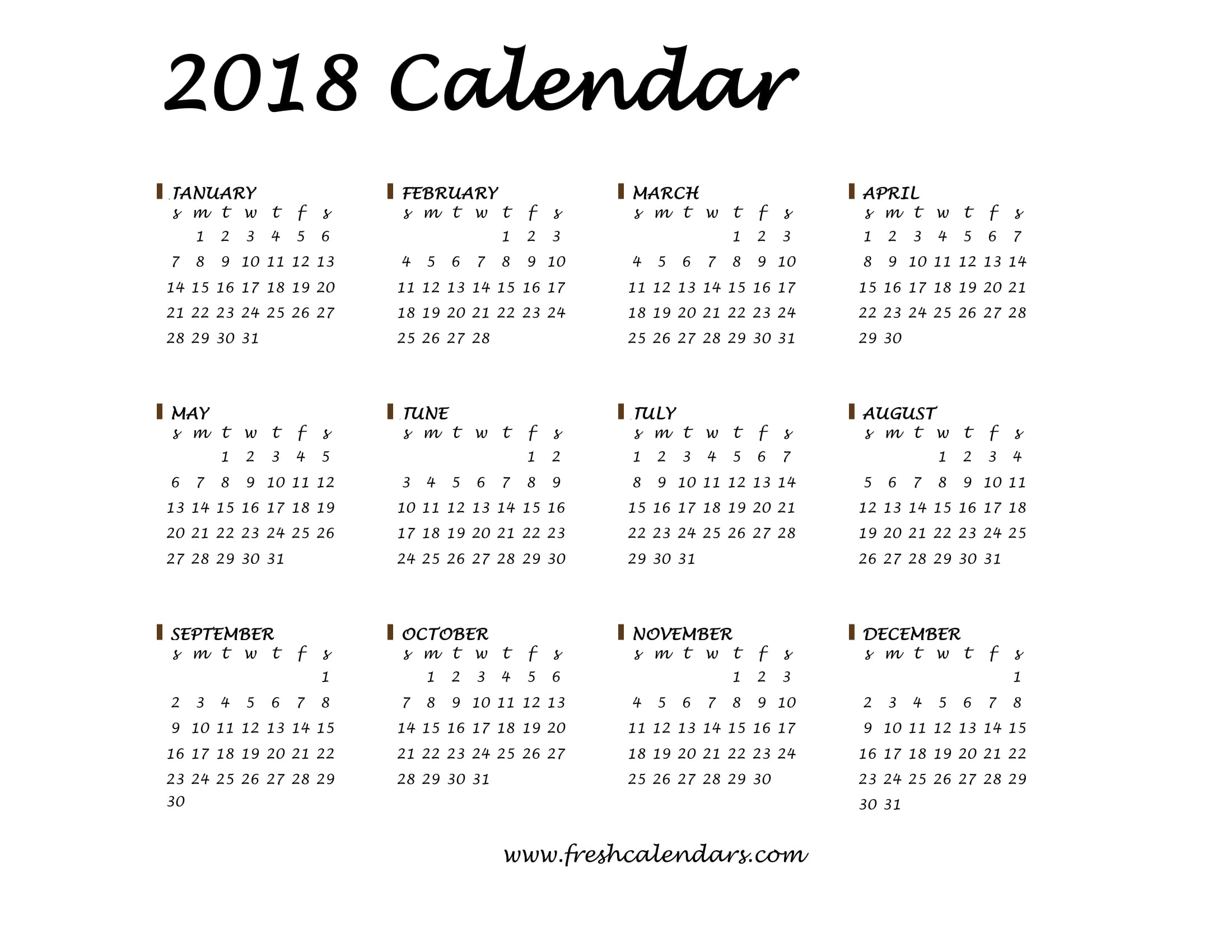 20+ Printable 2018 Calendar Templates  Monthly Calendar On One Page