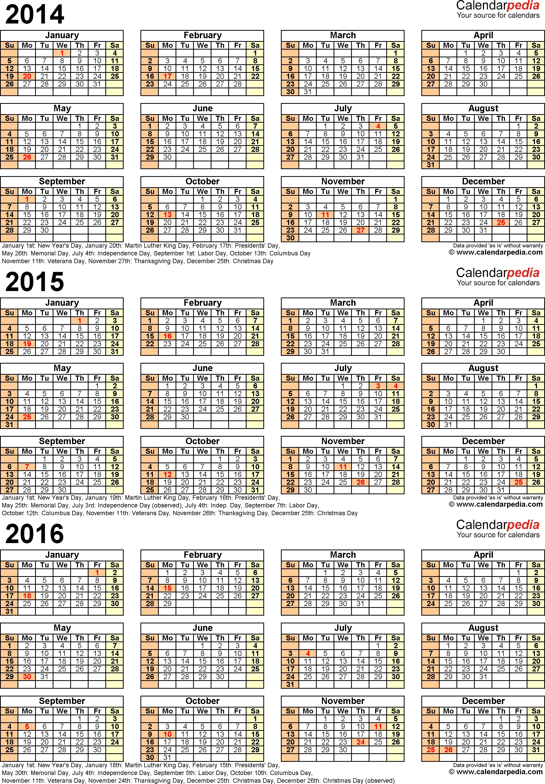 2014/2015/2016 Calendar - 4 Three-Year Printable Pdf Calendars  Printable Yearly Calendar 2014 2015