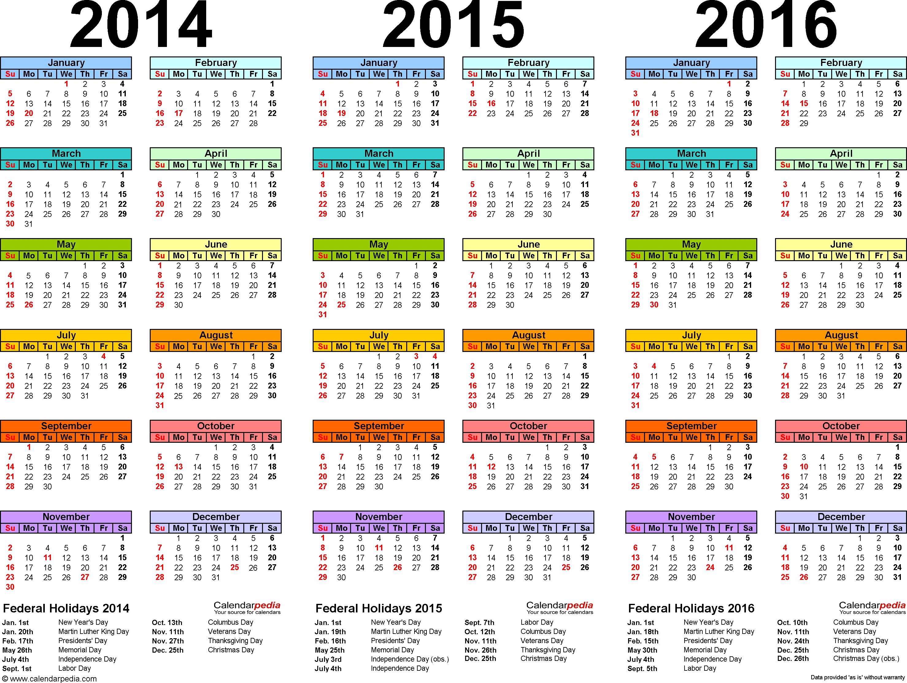 2014/2015/2016 Calendar - 4 Three-Year Printable Pdf Calendars  Printable Yearly Calendar 2014 2015