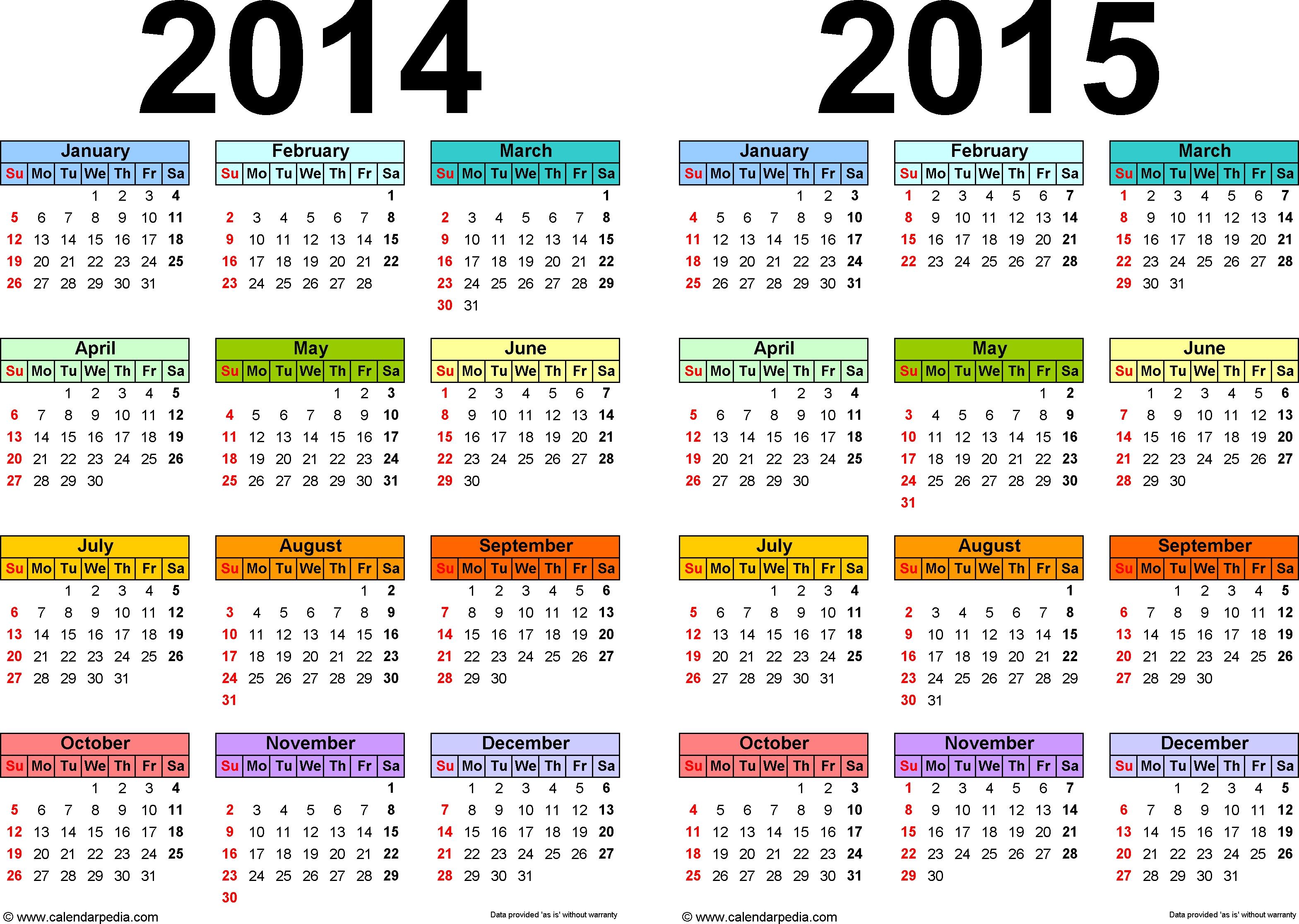 2014-2015 Calendar - Free Printable Two-Year Pdf Calendars  Printable Yearly Calendar 2014 2015