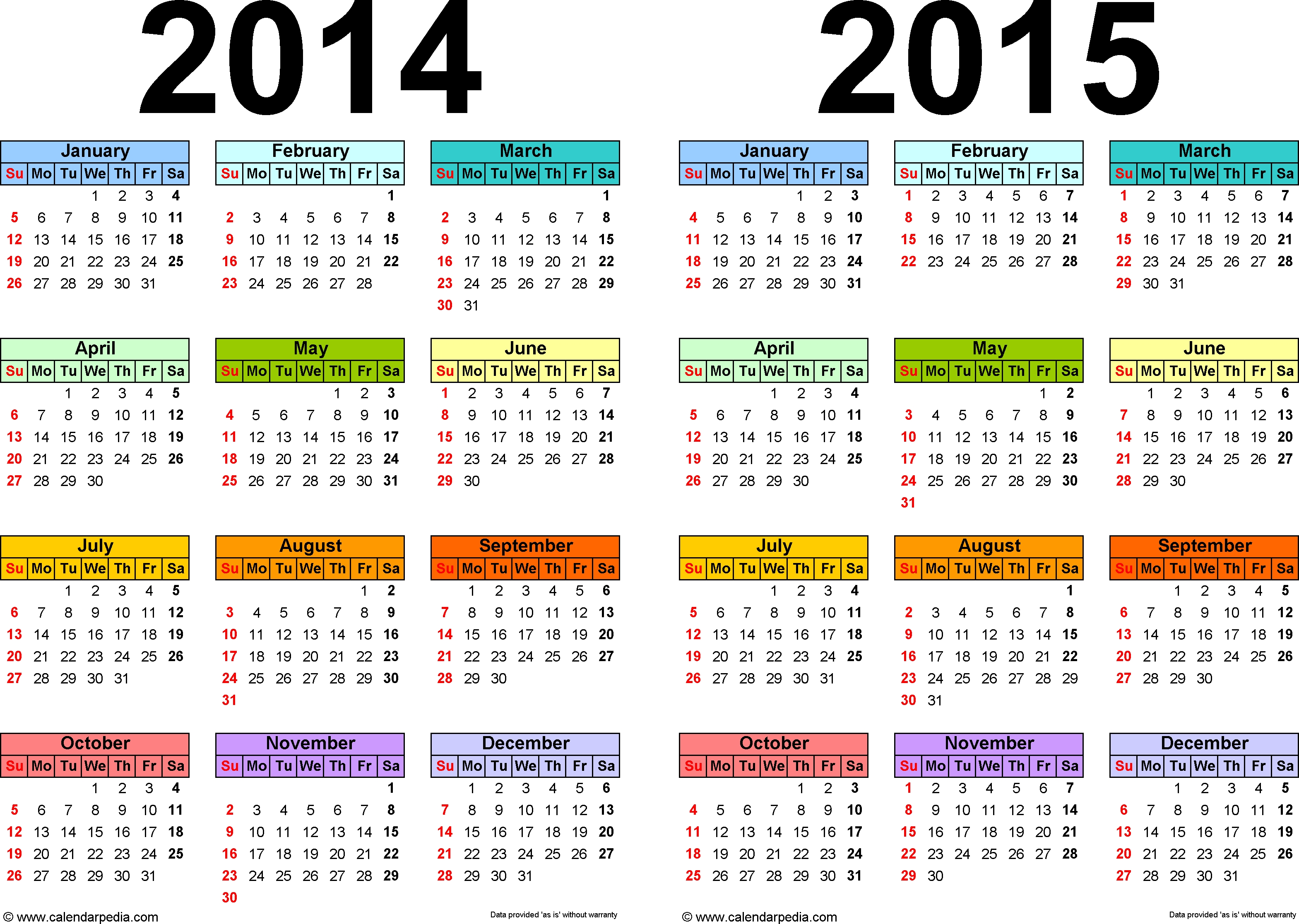 2014-2015 Calendar - Free Printable Two-Year Word Calendars  2014 Calendar Printable Yearly Calendars