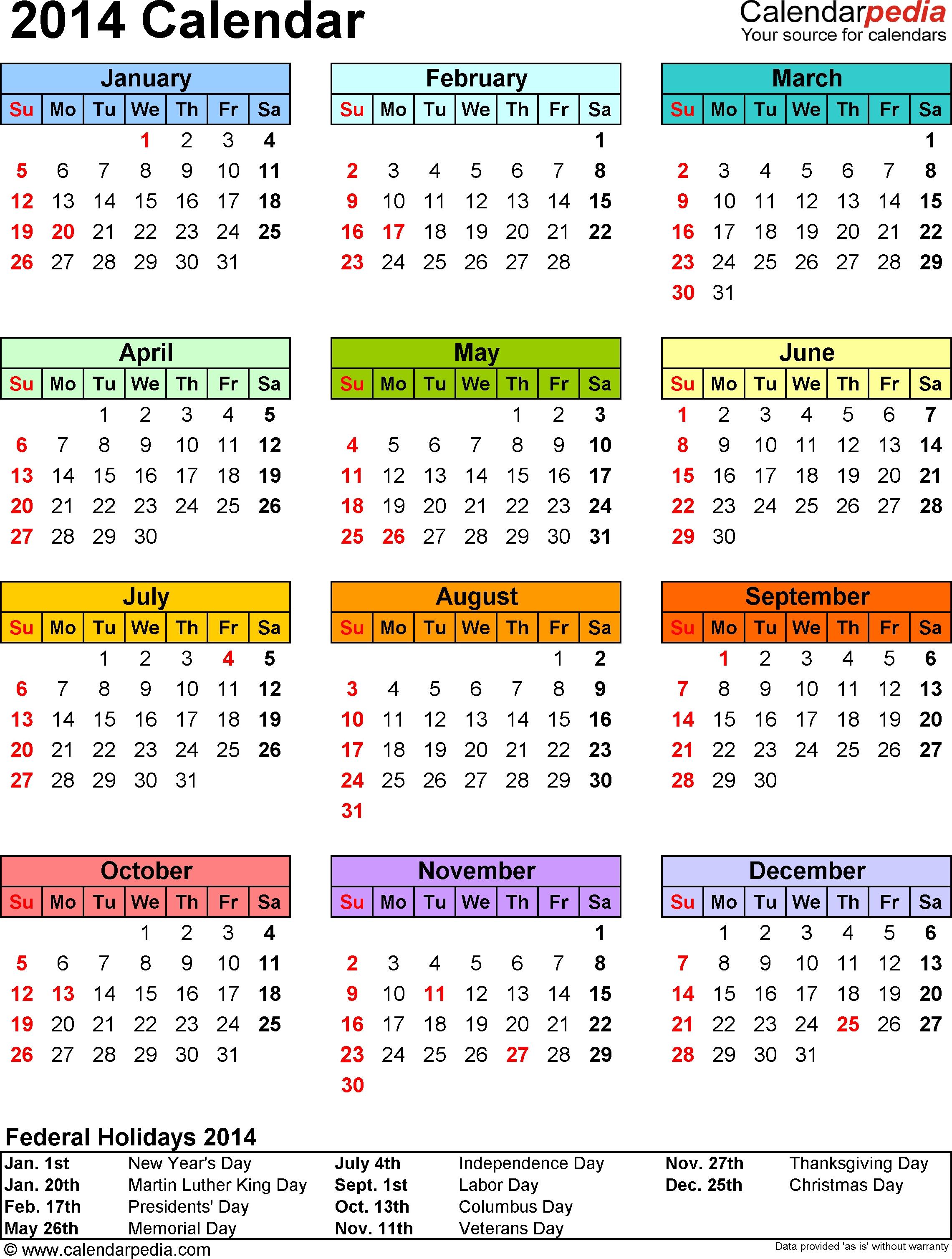 2014 Calendar - 13 Free Printable Word Calendar Templates  2014 12 Month Blank Calendar