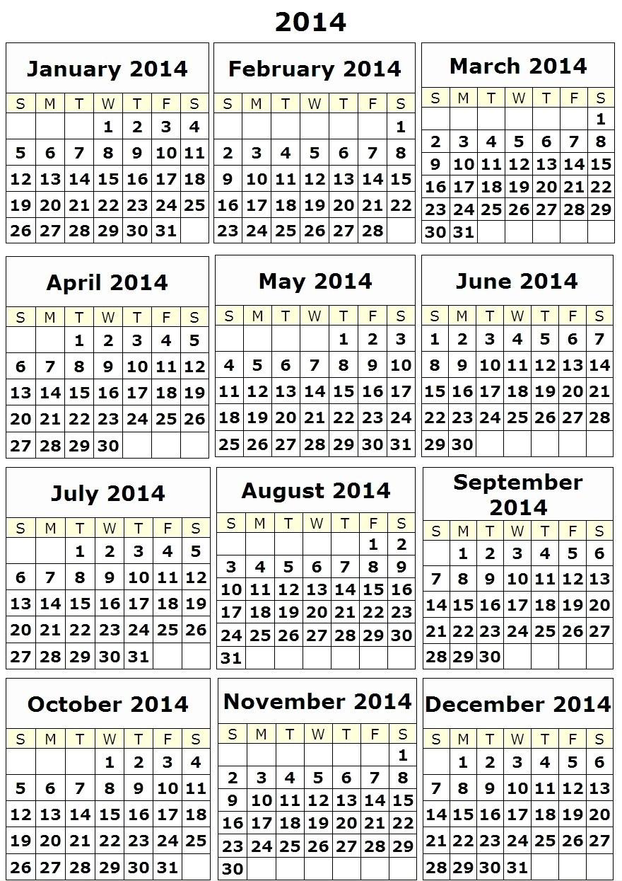 2014 Calendar Year Printable | Legt-Schuman-Haguenau  2014 12 Month Blank Calendar