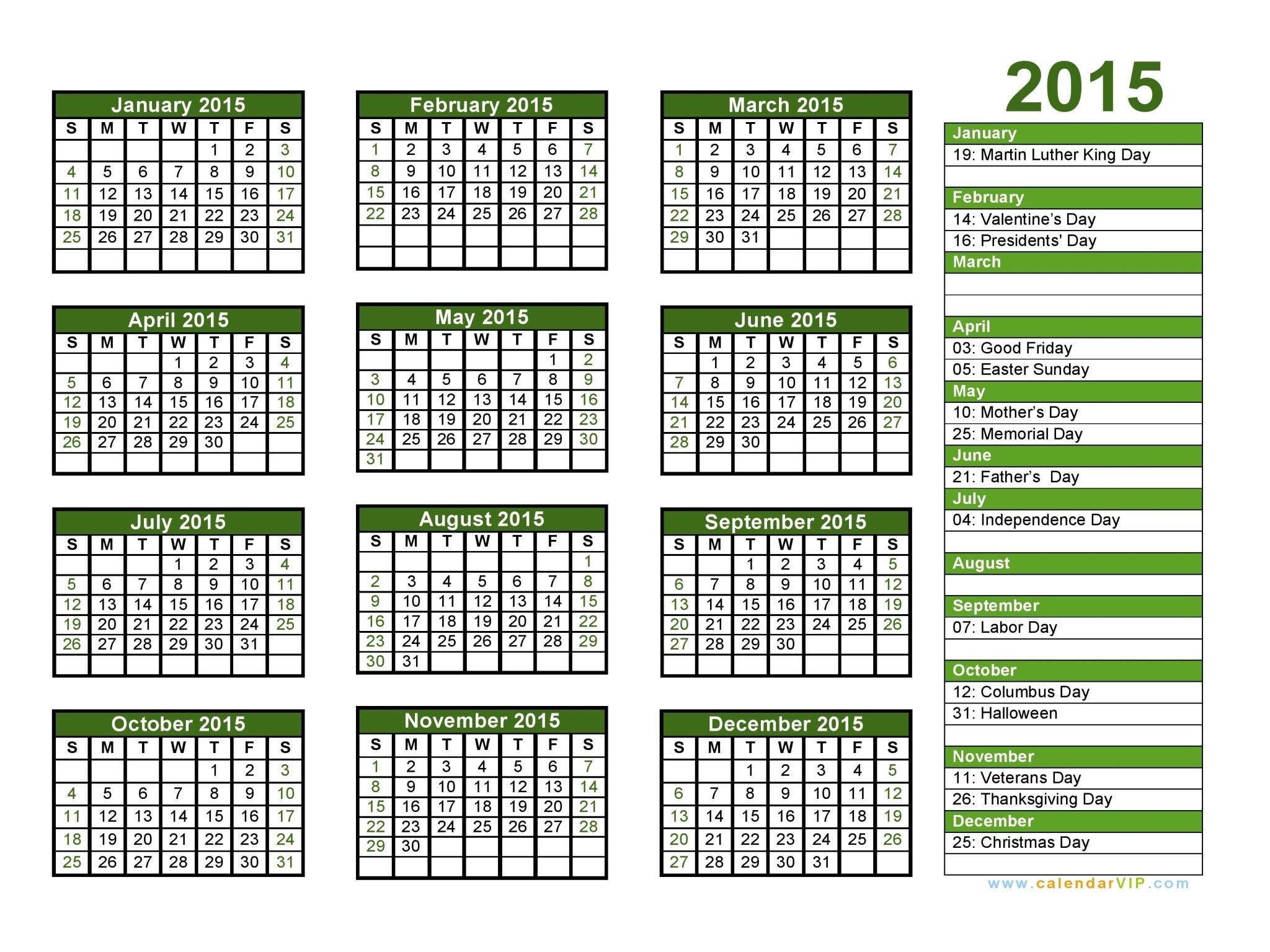 2015 Calendar - Blank Printable Calendar Template In Pdf Word Excel  2014 12 Month Blank Calendar