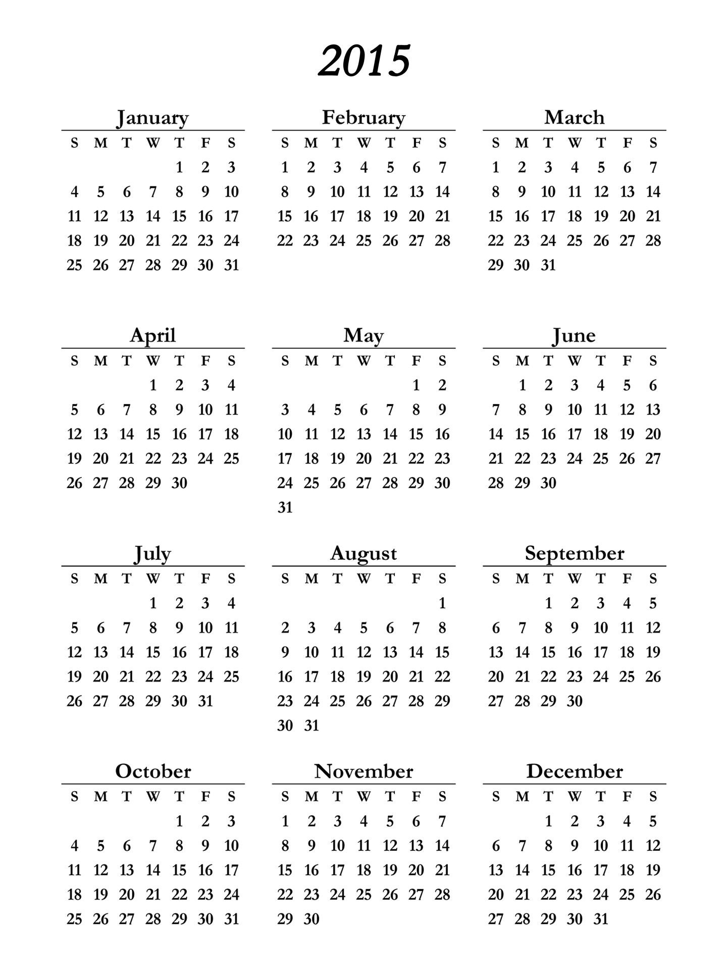 2015 Calendar Printable - Free Large Images | 2 | Pinterest  2014 Calendar Printable Yearly Calendars
