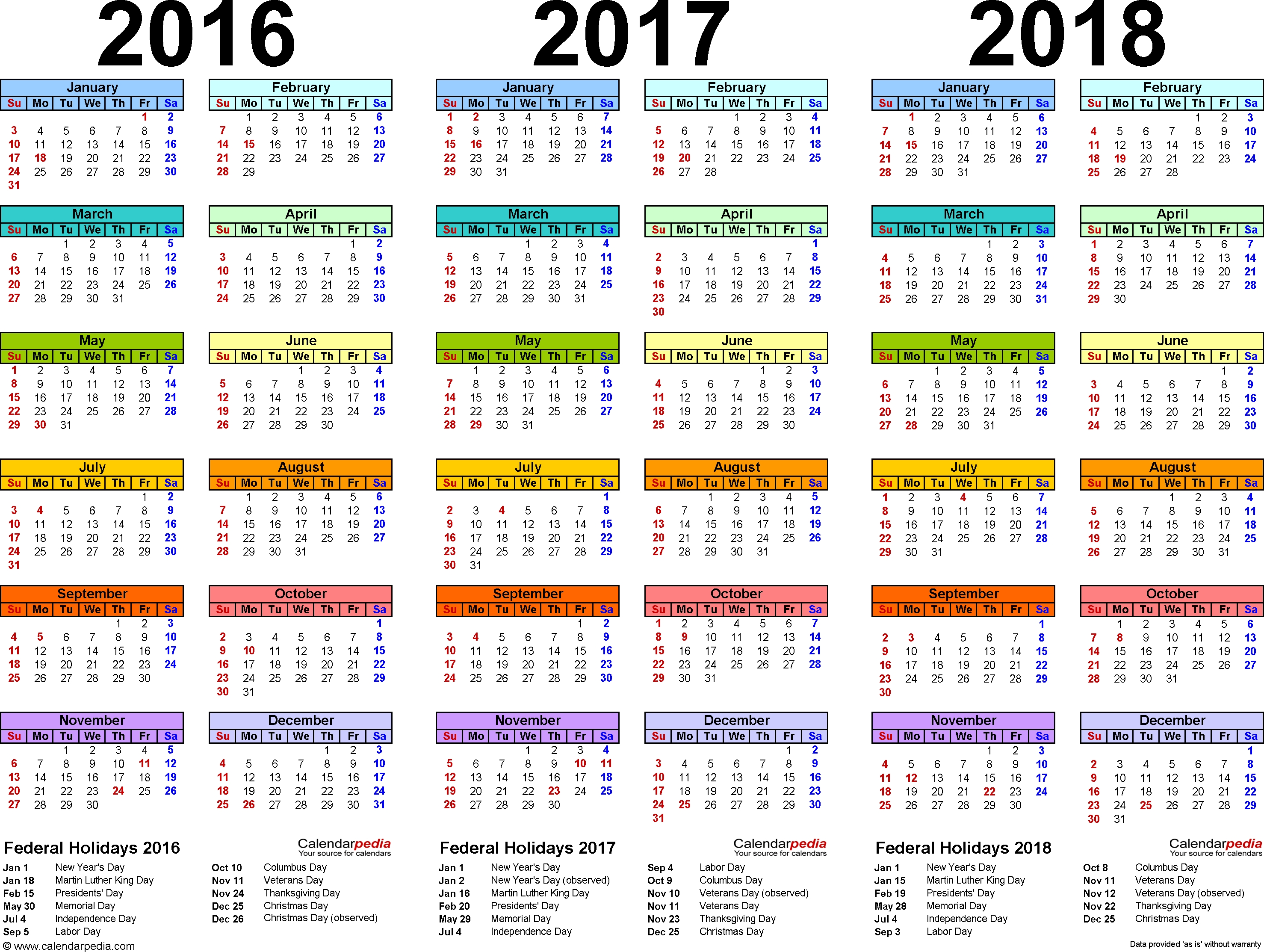 2016/2017/2018 Calendar - 4 Three-Year Printable Pdf Calendars  Bengali Calander Pic This Year Free Pic Downlode