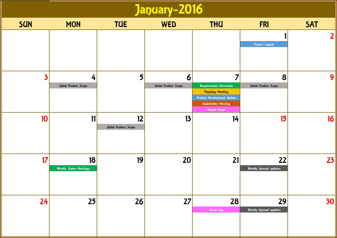 2016 Monthly Calendar - Event Calendar Maker Excel Template   Event  Samples Of Monthly Activity Calendar Templates And Designs