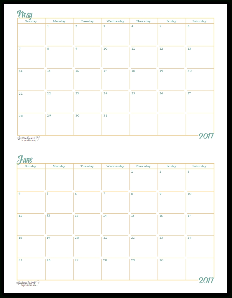 2017 Half-Size Monthly Calendar Printables  Printable Blank Monthly Calendar With Lines For Purse