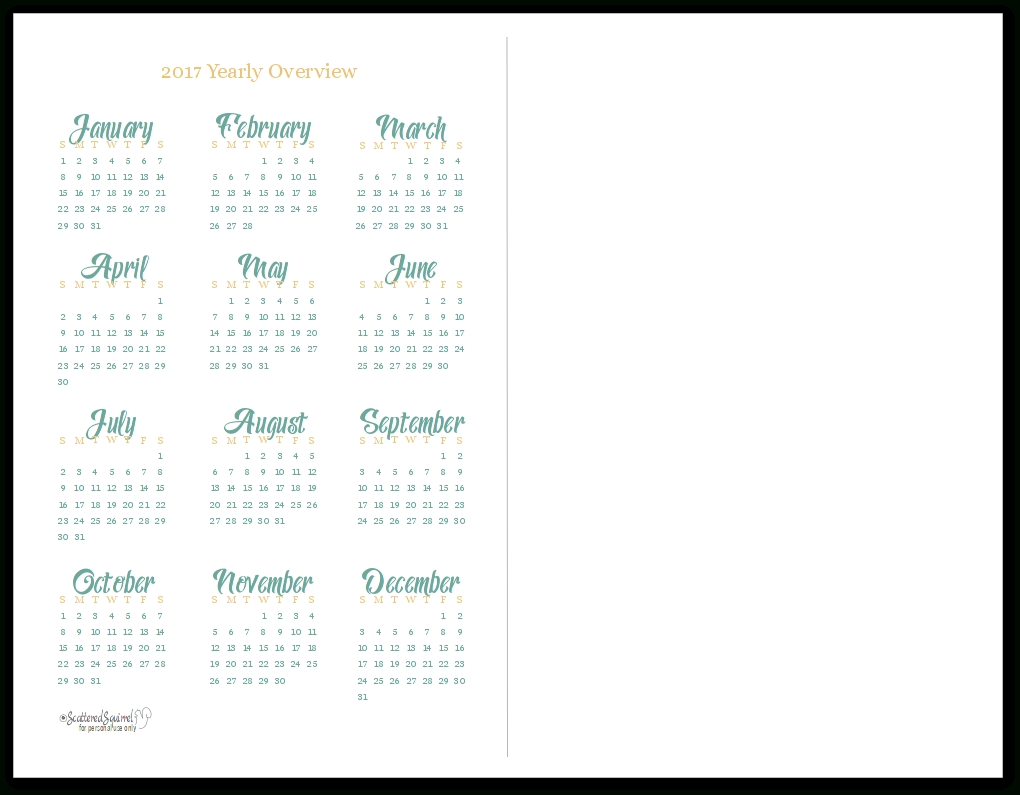 2017 Yearly Calendar Printables Are Here!  Free Calendar Templates For The Blind