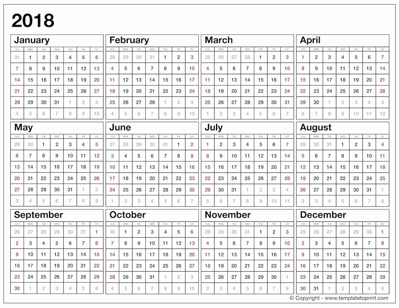 2018 Calendar At A Glance Year At A Glance Calendar 2018 Calendar  Template For Year At A Glance Calendar