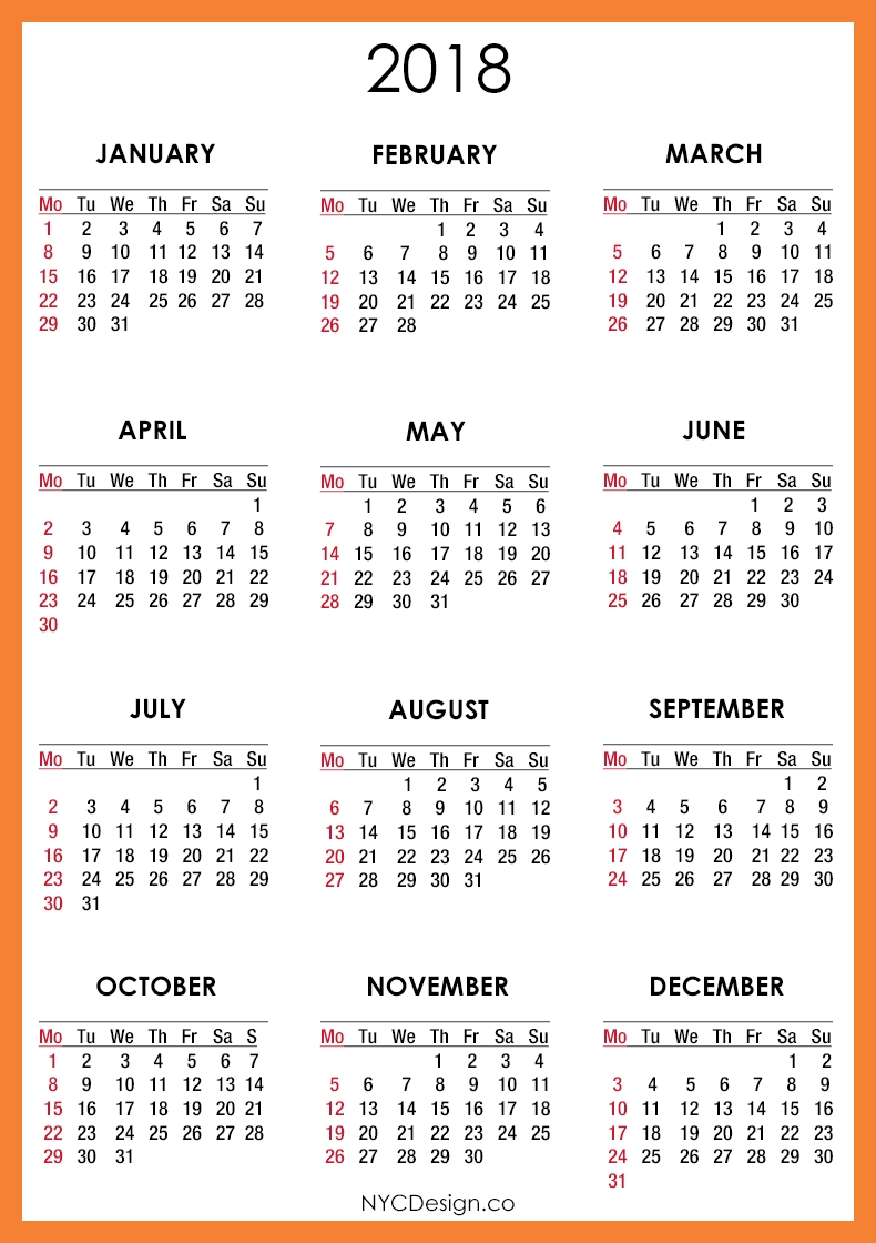 2018 Printable Monthly Calendar | Mohd Khalil Nordin | Pinterest  Monthly Calendar On One Page