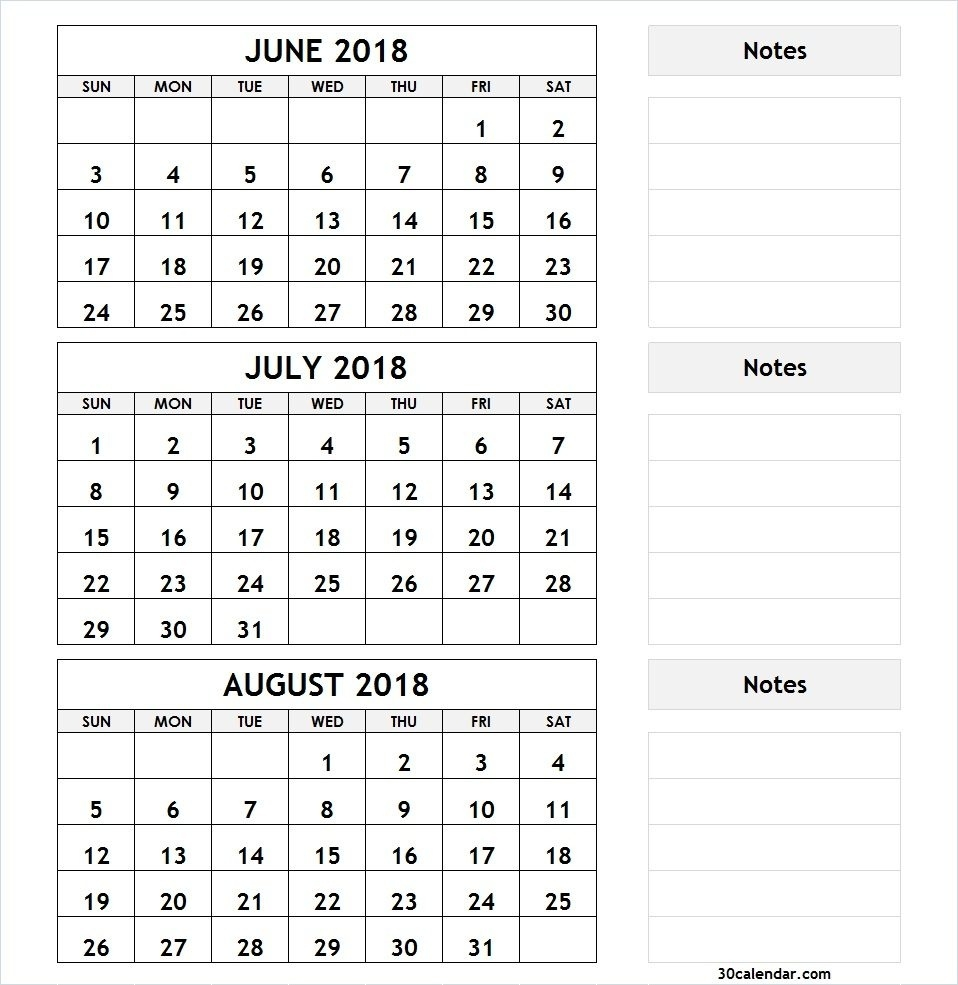 3 Month Calendar 2018  June And July Monthly Calendar