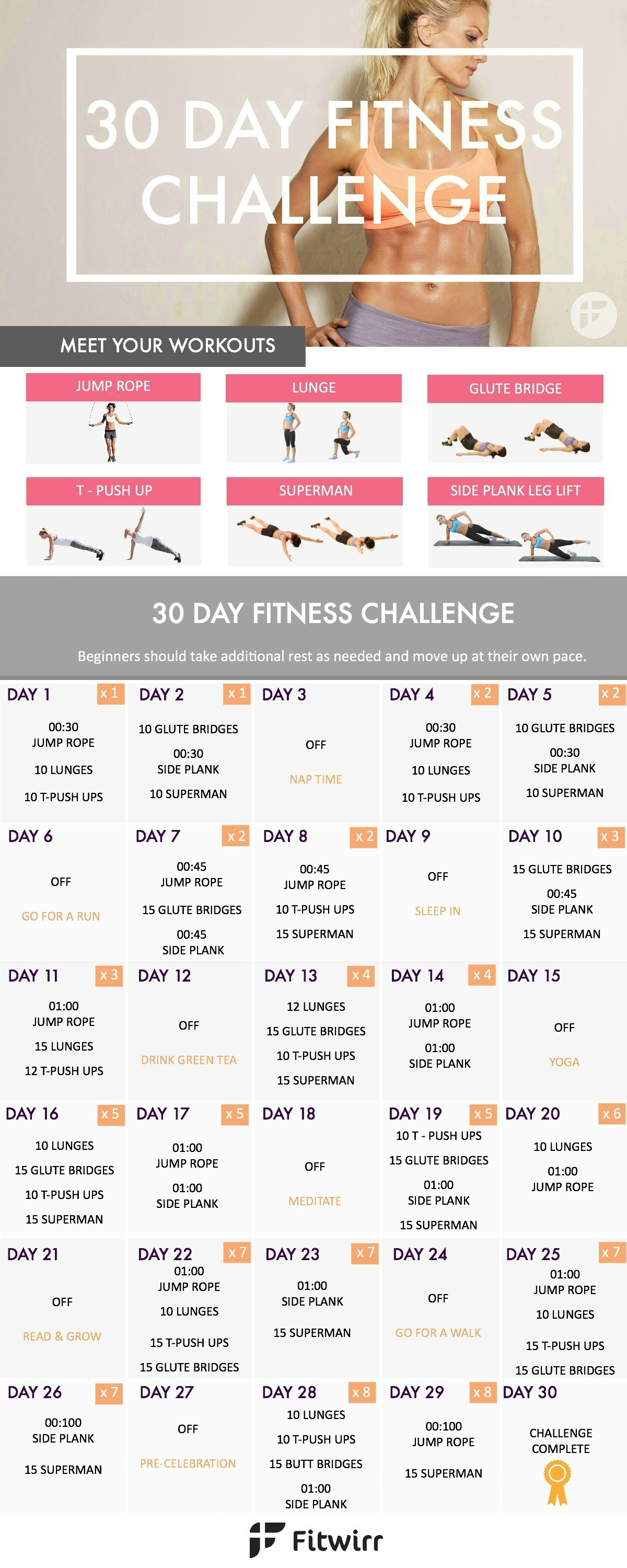 30 Day Fitness Challenge - Transform Your Body In 30 Days  30 Day Fitness Challenges Printable Charts