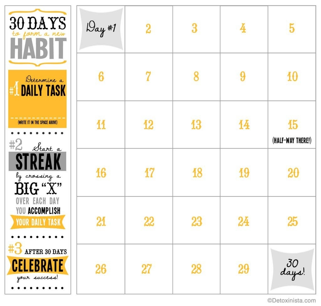 30-Day Printable Calendar | Detoxinista  30 Day Fitness Challenges Printable Charts